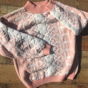 ROSE Made In USA Pink & White Sweater